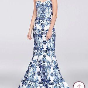 Paisley print mikado mermaid prom dress